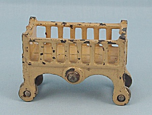 Kilgore - Cast Iron - Dollhouse Furniture - Baby Crib - Old Ivory/yellow