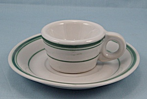 Demi Cup With Saucer - Green Lines