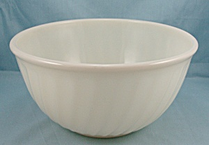 Fire King, Swirl, 9- Inch - Ivory Mixing Bowl