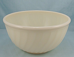 Fire King, Swirl, 8- Inch - Dark Ivory Mixing Bowl