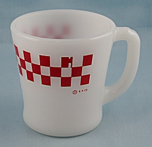 Fire King Mug, Red Checkered Pattern – Ralston Purina (Image1)