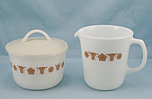 Corning - Cream, Sugar & Lid - Butterfly Gold Pattern