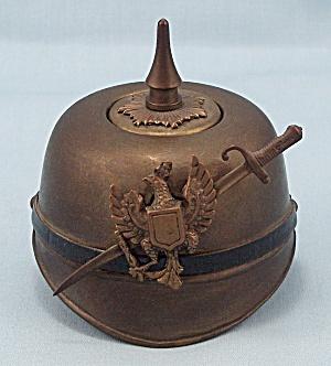 Brass, WWI Prussian Helmet Inkwell, circa 1900 (Image1)