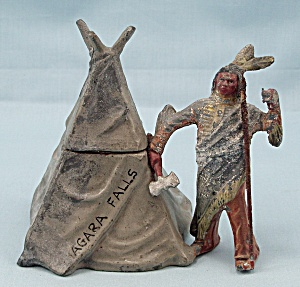 Souvenir Niagara Falls, Indian With Teepee Inkwell, Germany
