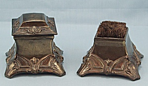 Cast Inkwell And Pen Brush, Desk Set, Circa1910