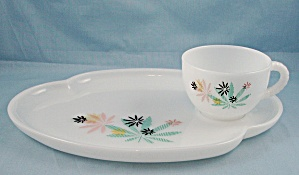 Federal Glass - Snack Plate And Cup - Pastel, Floral