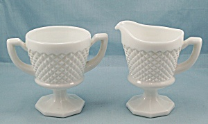 Westmoreland, English Hobnail - Footed Sugar & Cream Pitcher