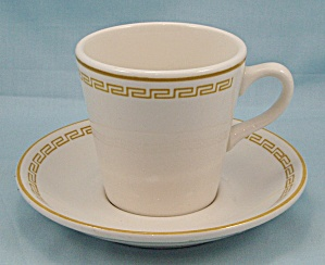 Homer Laughlin - Greek Key, Gold Band - Cup & Saucer