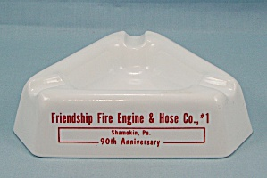 Milk Glass Ash Tray – Shamokin Pa. – Friendship Fire Engine & Hose Co (Image1)
