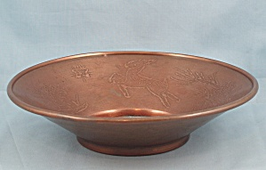 Decorative Copper Bowl - Leaping Deer On Rim	 (Image1)