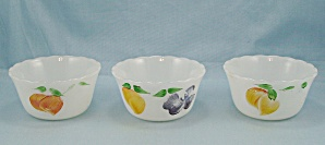 3 Fire King - Gay Fad Look / Vintage Pattern - Custard Cups