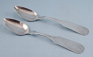2 Coin Silver Spoons - J. Draper, – Silversmith – 1850's (Image1)