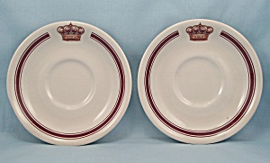 Two Sterling China Saucers, Crown On Rim, Maroon Stripe (Image1)