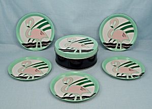 5 Coasters, Pink Flamingo's & Turquoise Rim & Tin Holder