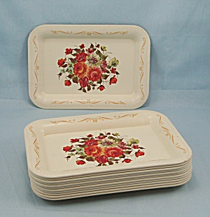 12 Tin Tip Trays - Floral Pattern