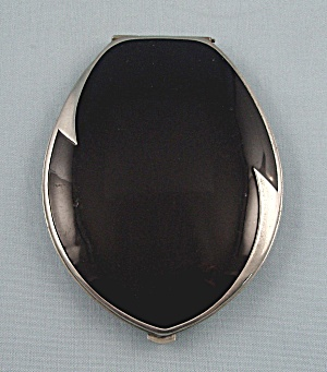 Vintage Elgin American, Art Deco, Black Enameled, Compact