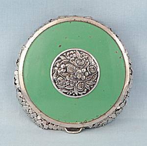 Evans Vintage Mesh Bottom Enameled Powder Compact