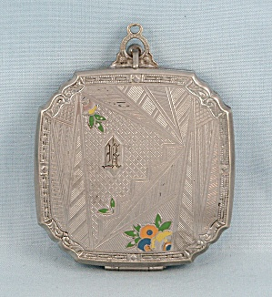 Vintage Evans Compact, Enameled Decorations