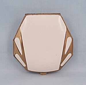 White Enameled Compact � Gold Trim (Image1)