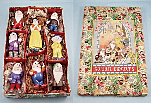 1938 Walt Disney, Bisque, Snow White And The 4 Inch Seven Dwarfs, Original Box, Borgfeldt