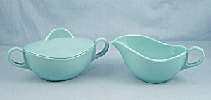 Melmac Sugar Bowl and Creamer � Turquoise	 (Image1)
