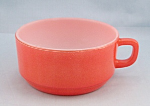 "Fire King - ""d"" Handle Soup Bowl - Orange"