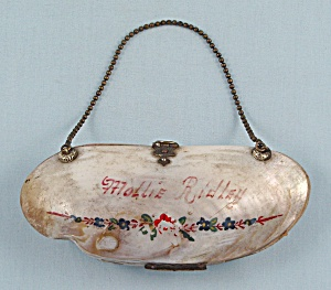 Victorian Clam Shell Purse, Red Accordion Interior	 (Image1)