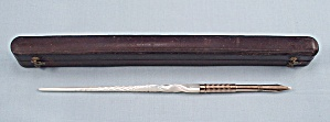 Vintage Carved Mother of Pearl, Dip Pen with Brown Leather Case  (Image1)