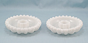 Hazel Atlas � Daisy Candle Holder, Pair � Milk Glass (Image1)