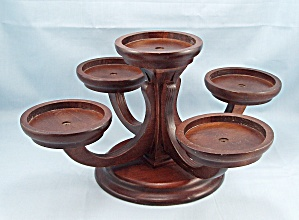 Vintage, Wood, Table Top, Five Candle Stand - Candelabrum