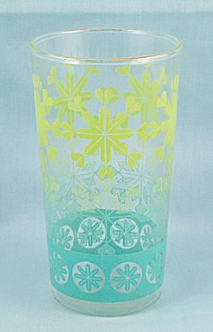 Anchor Hocking Tumbler, Turquoise & Yellow Snowflakes (Image1)