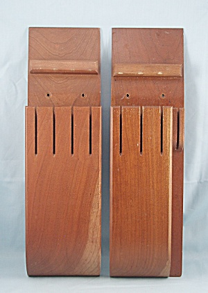 Wood, Hanging Knife Block/ Holders - Vintage	Pair	 (Image1)
