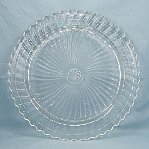 Footed Roman Rosette Swirl Crystal Cake Plate Cake