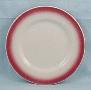 Shenango- Bread & Butter Plate - Maroon Airbrushed Rim