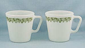 Two Pyrex - 9 Oz. Coffee Mugs/ Cups – No.1410 – Spring Blossom Green  (Image1)