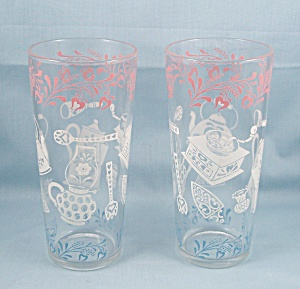 (2) Blue, Pink, White Tumblers - Colonial Kitchen Design