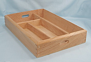 Wood Silverware Tray, Dovetailed Corners