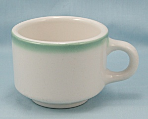 Homer Laughlin Cup - Turquoise Rim - Restaurant Ware