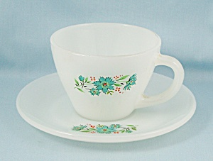 Fire King – Bonnie Blue – Cup & Saucer #2	 (Image1)