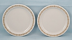 2 Shenango China  Bread Plates, Gold Rim Floral Pattern	 (Image1)