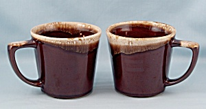 Two McCoy Brown Drip Mugs	 (Image1)