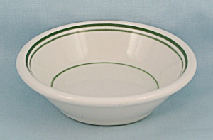 Jackson Vitrified China – Small  Round Bowl  - Green Lines  (Image1)