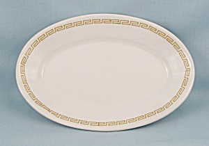 Homer Laughlin - Small Oval Plate, Greek Key, Gold Band (Image1)