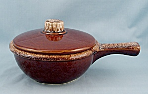 Hull - Brown Drip Handled Bowl & Lid