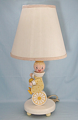 Vintage Wooden Boy Nursery Lamp & Shade  (Image1)