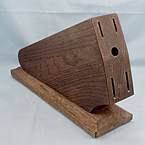 Case - Wood Knife Block, 4-slots & Round Hole