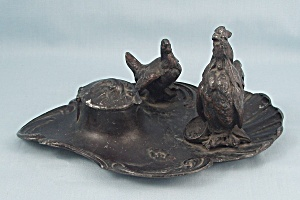 Art Nouveau, Cast Metal Rooster and Hen Figural Inkwell, circa 1900 (Image1)