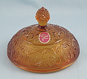 Tiara Amber Compote/glass Candy Bowl Lid, No Base