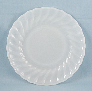 Fire King - Shell- Milk Glass, Scalloped Edge, Swirl - Salad Plate