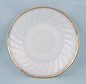 Fire King - Swirl - Saucer, Gold Rim, Milk Glass